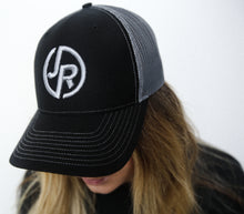 Load image into Gallery viewer, Black/Charcoal Embroidery JR Logo Hat