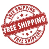 Red banner showing free shipping with 5 stars