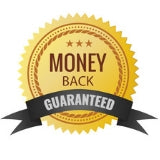 gold money back guarantee badge with black writing