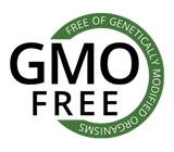 GMO free title with green circle showing that these products are free from genetically modified organisms