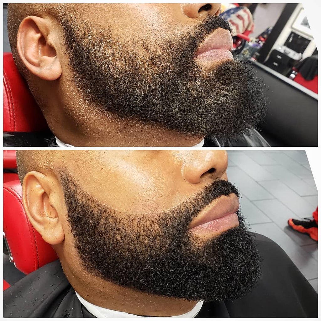 close up shot of a man with an unkept beard compared to the same man with a well kept beard