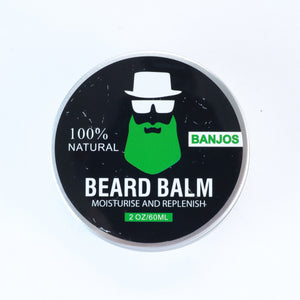 Black beard balm container with green beard logo of banjos beards