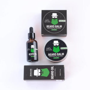 Beard growth balm and beard growth oils with green beard logo of banjos beards in black packaging