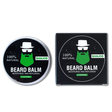 Load image into Gallery viewer, Black Black beard balm container with green beard logo of banjos beards next to the beard balm box