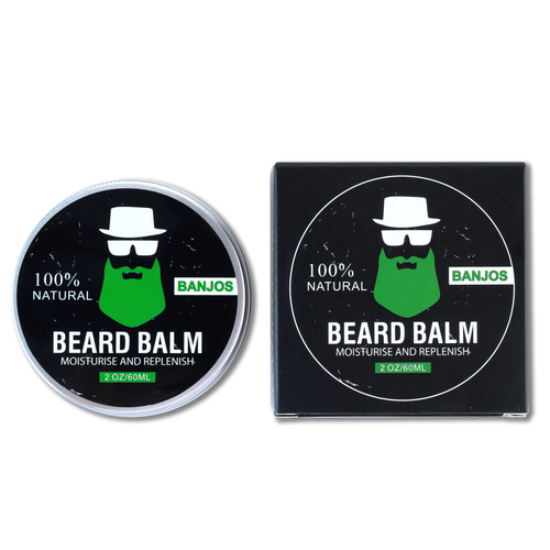 Black Black beard balm container with green beard logo of banjos beards next to the beard balm box