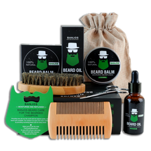 Load image into Gallery viewer, beard care kit containing one beard oil, one beard balm, one pair of beard trimmers, one brush and one beard comb in black packaging with green beard shaped banjos beards logo
