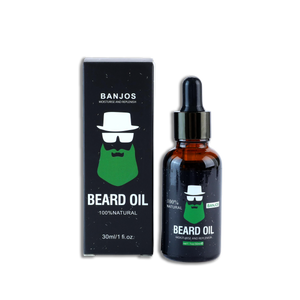 Beard Oil with green beard logo of banjos beards in black packaging next to the beard oils box