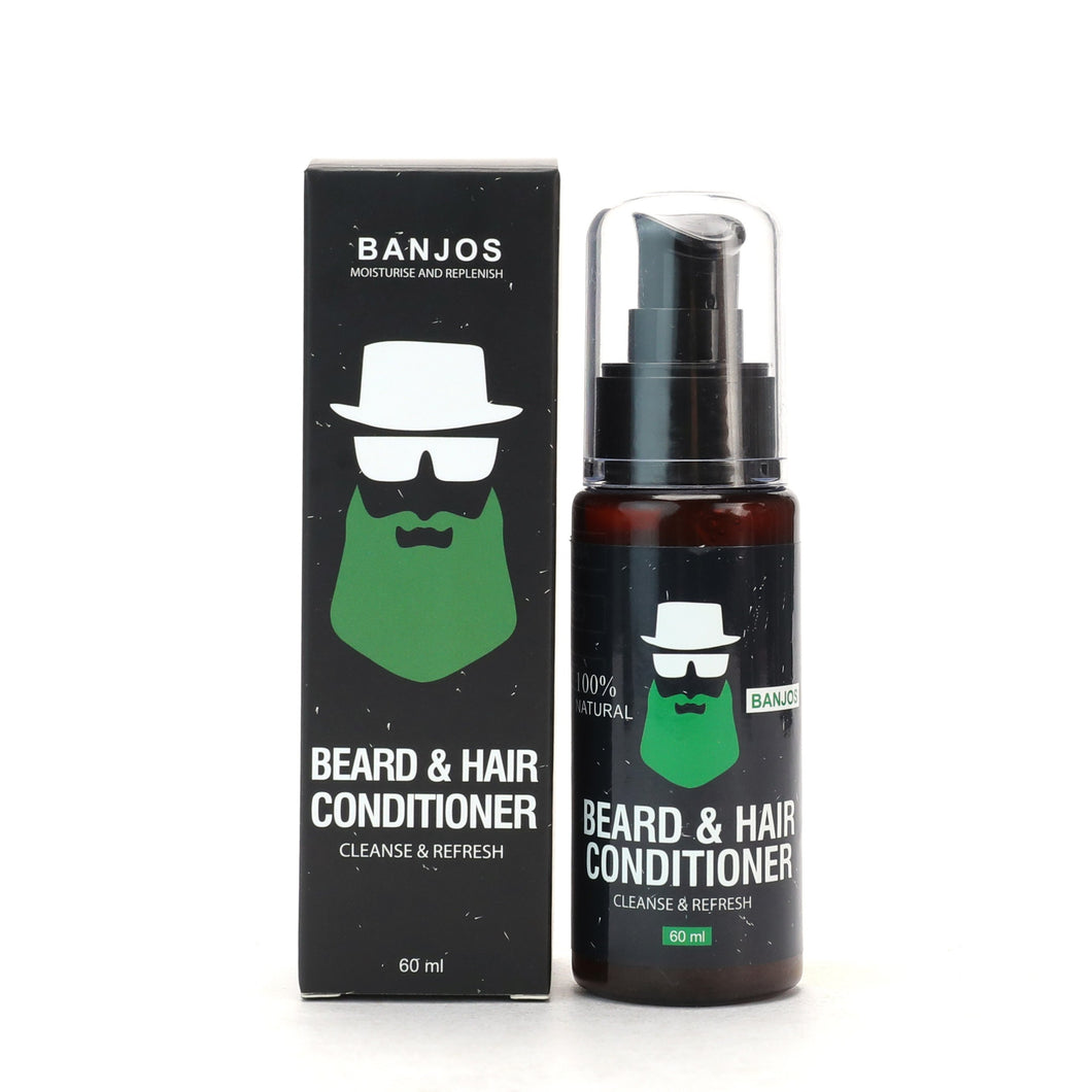 black beard conditioner container with green banjos beards logo and text that reads beard & hair conditioner cleanse & refresh