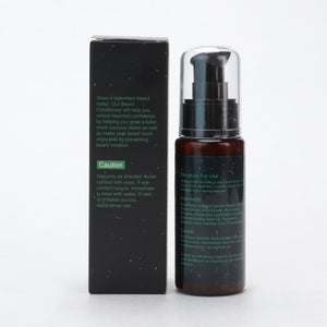 back side of beard conditioner with black background and green text