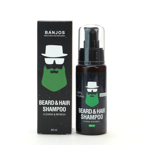 black labelled beard shampoo bottle and box with green banjos beards logo that reads beard & hair shampoo cleanse & refresh