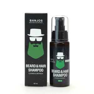 black beard wash container with green banjos beards logo and text that reads beard & hair Shampoo cleanse & refresh