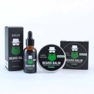 New Zealand made beard oils and beard balms with a black and green banjos beards label on a white background as part of the beard care kit