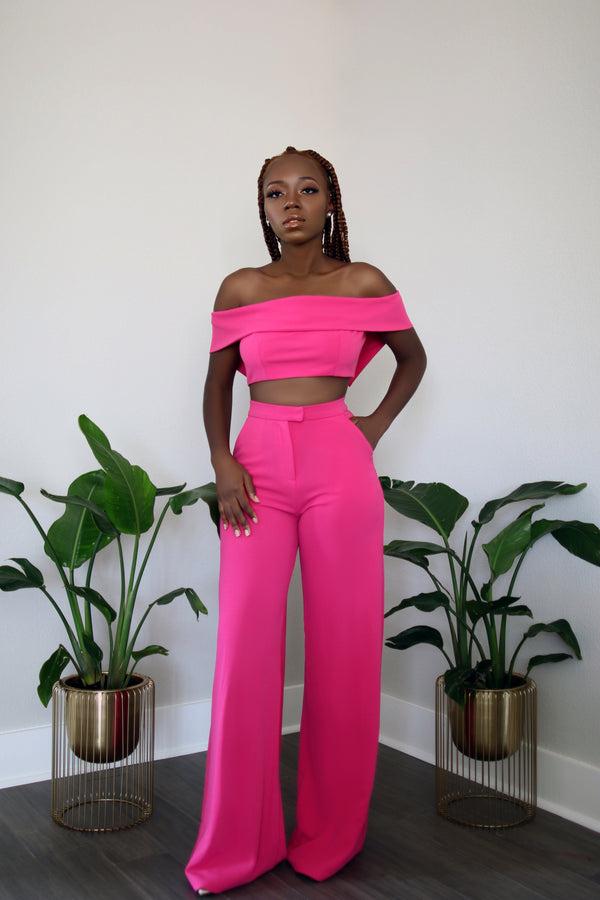 Pink Panther Crop Top with High Waist Wide Leg Pants Set