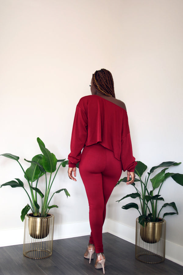 Lounge With Me Deep Red Off-Shoulder Long Sleeve crop Top with Leggings