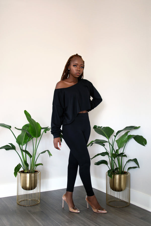 Lounge With Me Black Off-Shoulder Long Sleeve crop Top with Leggings