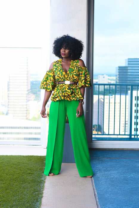 Adaora Ankara Peplum Top with  Double Frills -Green/Yellow