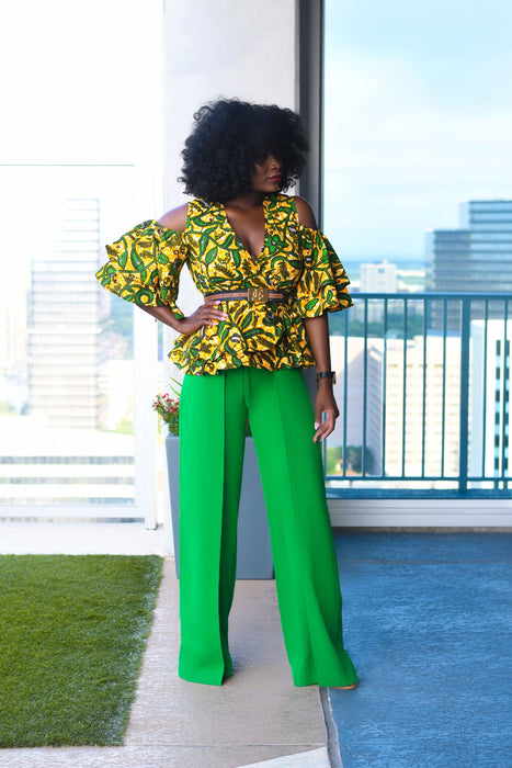 Phoebe High Waist Wrap Front Wide Leg Pants Green