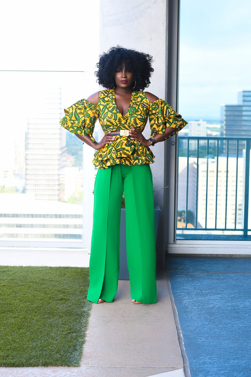Adaora Ankara Peplum Top with Double Frills -Green/Yellow | Tops | Flair By Ashi