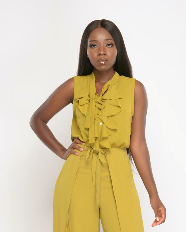 Frill It Chartreuse Sleeveless Top