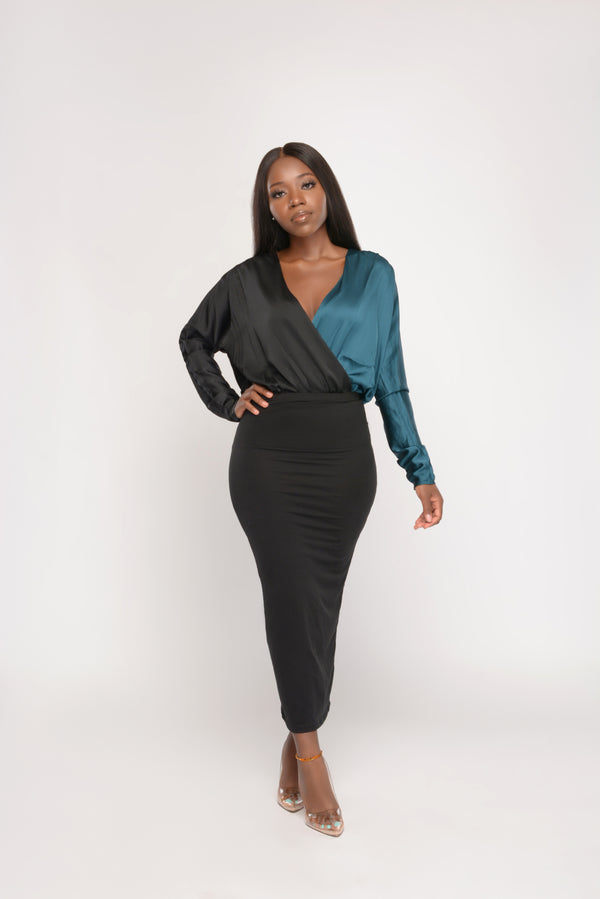 Teal With Envy Two-toned Body suit