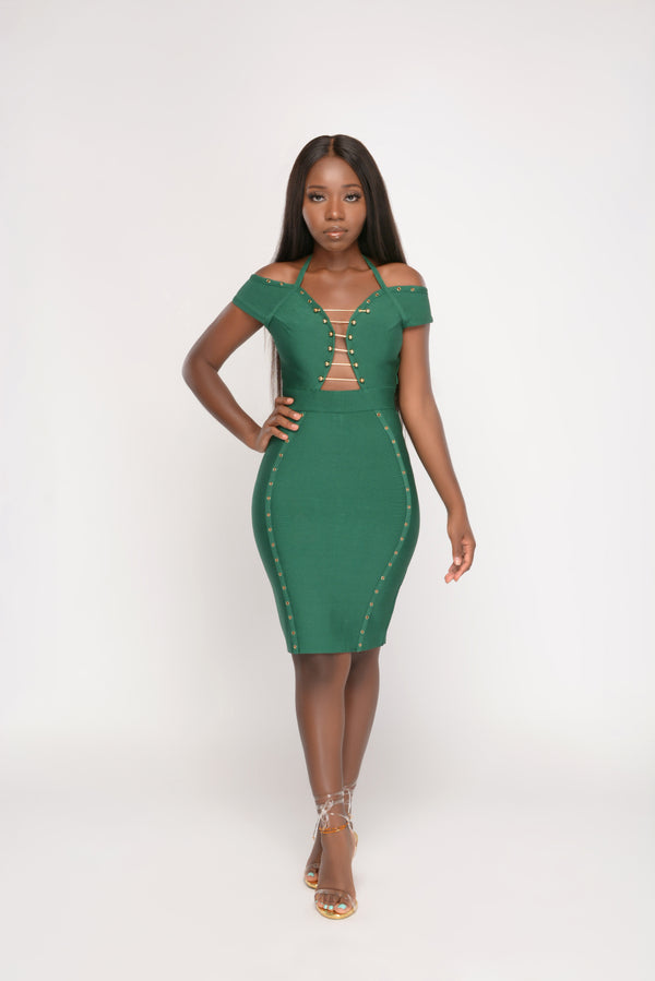 Snatched Off-shoulder Green Bodycon Dress