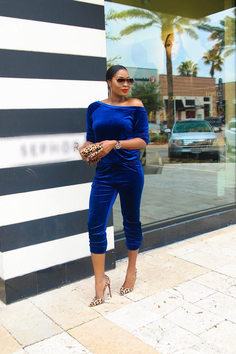 Crush Velvet Off Shoulder Royal Blue Co-Ord Set | Jumpsuits | Flair By Ashi