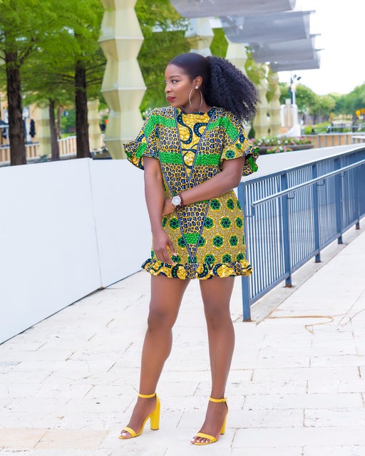 Mayowa Shift Ruffled dress with pockets - Green/Yellow | Dresses | Flair By Ashi