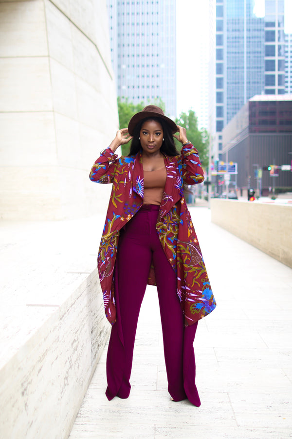 Amarachi Ankara Waterfall Jacket with Pockets Burgundy Multi | New Arrivals | Flair By Ashi