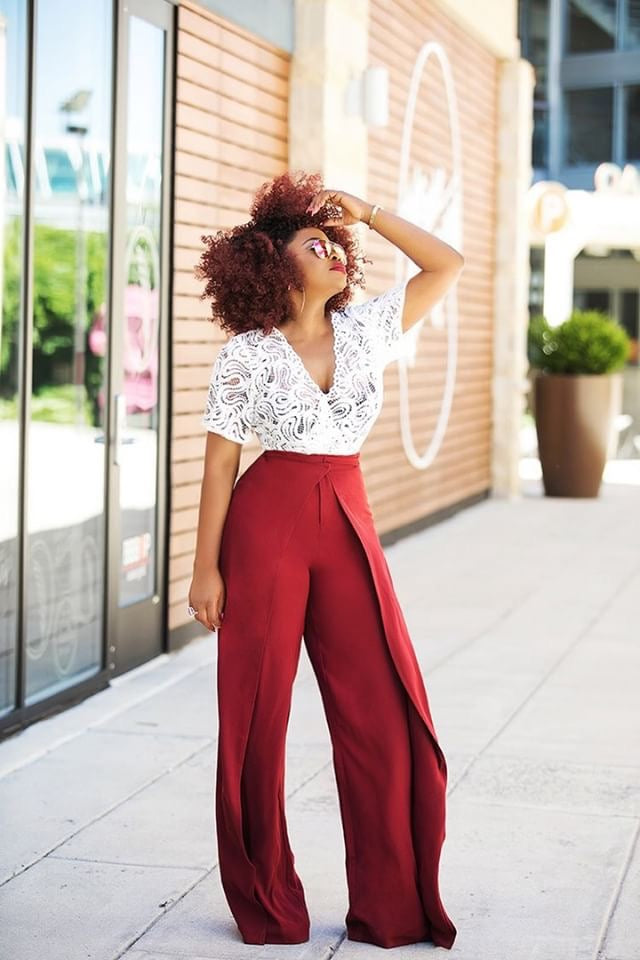 Phoebe High Waist Wrap Front Wide Leg Pants Burgundy | Pants | Flair By Ashi