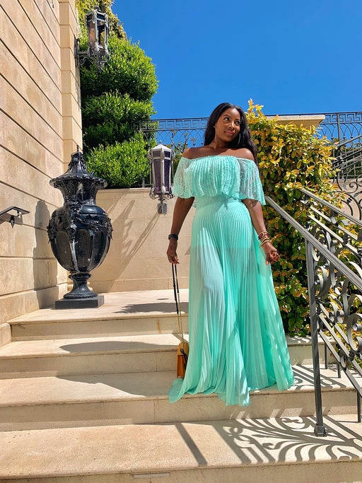Valerie Off shoulder Mint Pleated Maxi Dress with Lace details | New Arrivals | Flair By Ashi