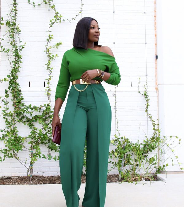 Phoebe High Waist Wrap Front Wide Leg Pants Dark Green | Pants | Flair By Ashi