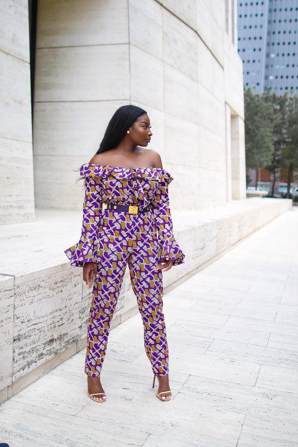Tosan Off Shoulder Ankara Jumpsuit with Frills & Pockets Purple Multi | Jumpsuits | Flair By Ashi
