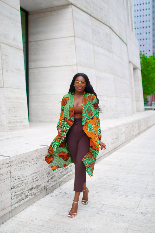 Amarachi Ankara Waterfall Jacket with Pockets Orange/Green | Tops | Flair By Ashi