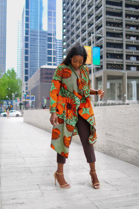 Amarachi Ankara Waterfall Jacket with Pockets Orange/Green