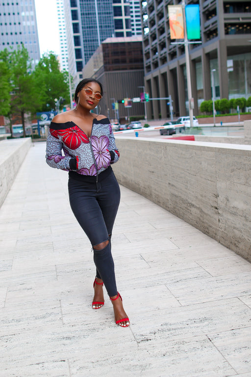 Kuso Off Shoulder Bomber Ankara Jacket with Pockets Lilac/Red Multi | Tops | Flair By Ashi