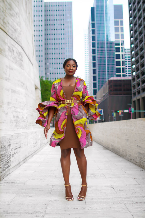 Uche Ankara Jacket with Frills and Pockets Pink Multi