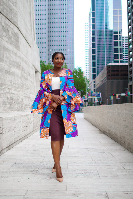 Uche Ankara Jacket with Frills and Pockets Purple Multi