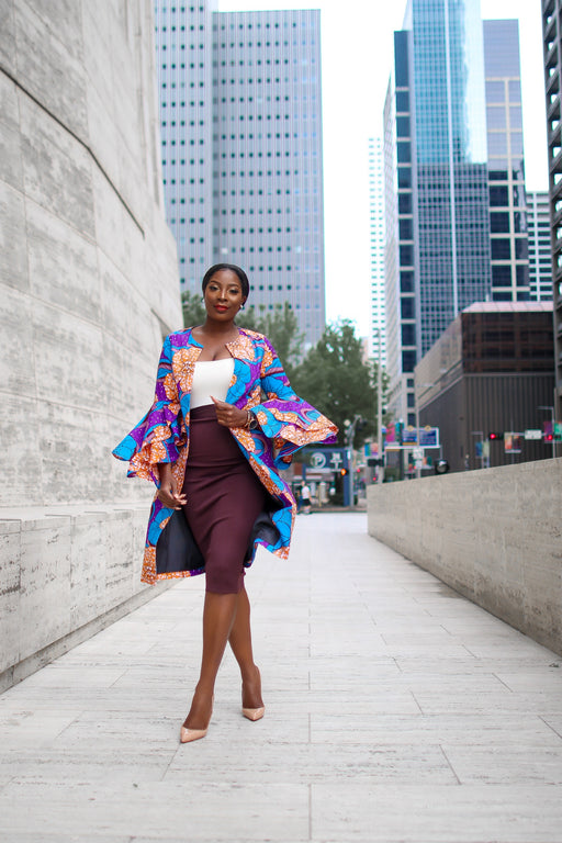Uche Ankara Jacket with Frills and Pockets Purple Multi | New Arrivals | Flair By Ashi