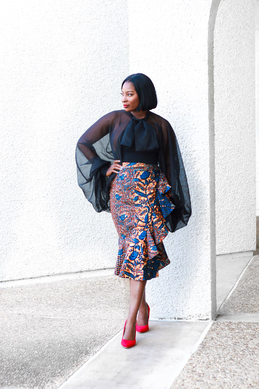 Dami Ruffled Midi Skirt