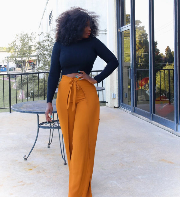 Phoebe High Waist Wrap Front Wide Leg Pants Burnt Orange | Pants | Flair By Ashi