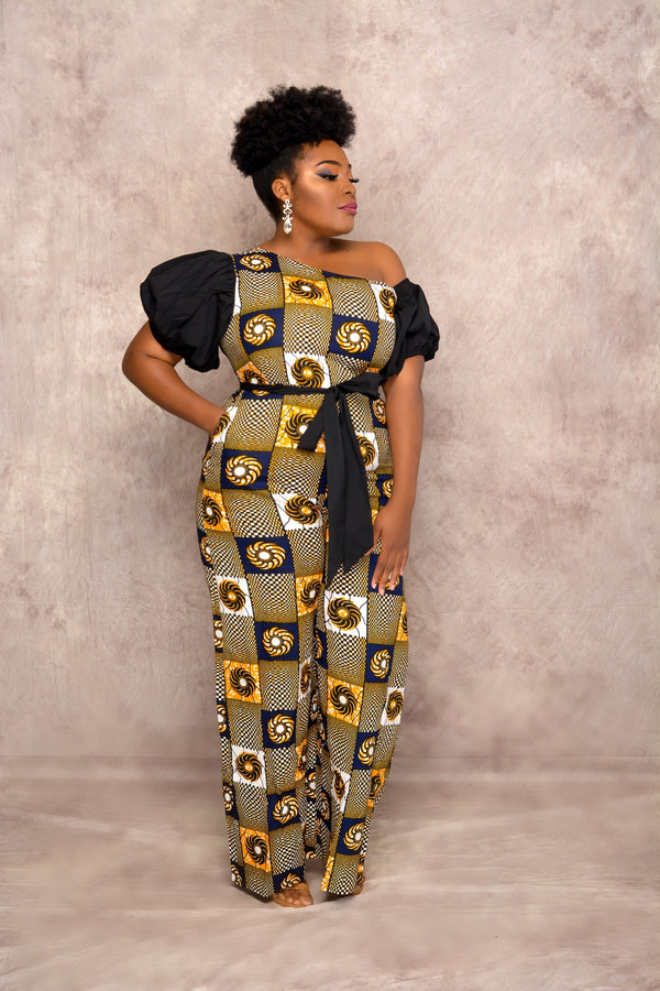 Ope One Shoulder Ankara Jumpsuit with Puff Sleeves & Pockets | Jumpsuits | Flair By Ashi