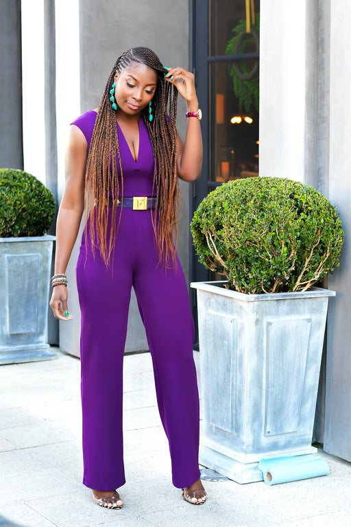 Luxe Deep V cut Purple Jumpsuit | Pants | Flair By Ashi