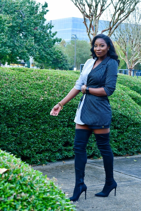 Bipolar Black Grey Stripe Blazer dress | Jumpsuits | Flair By Ashi