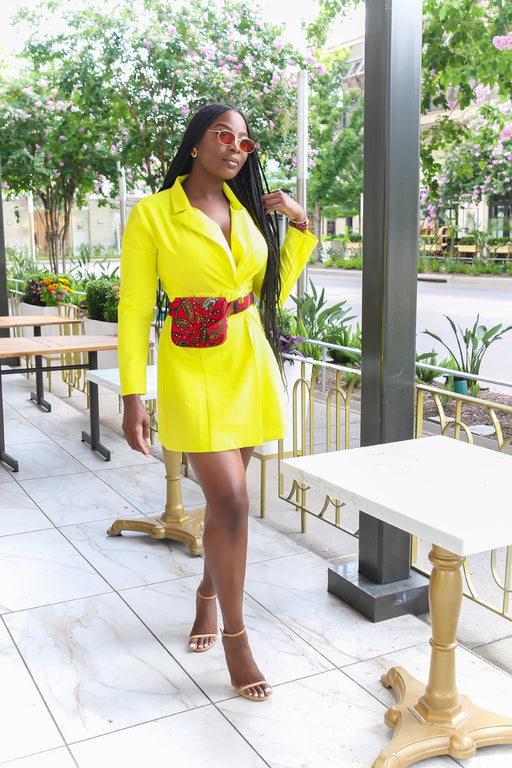 Leona Neon Double Breasted Belted Blazer Dress