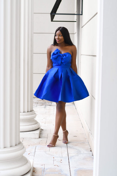 Bow Down Blue Flare Dress with Pockets
