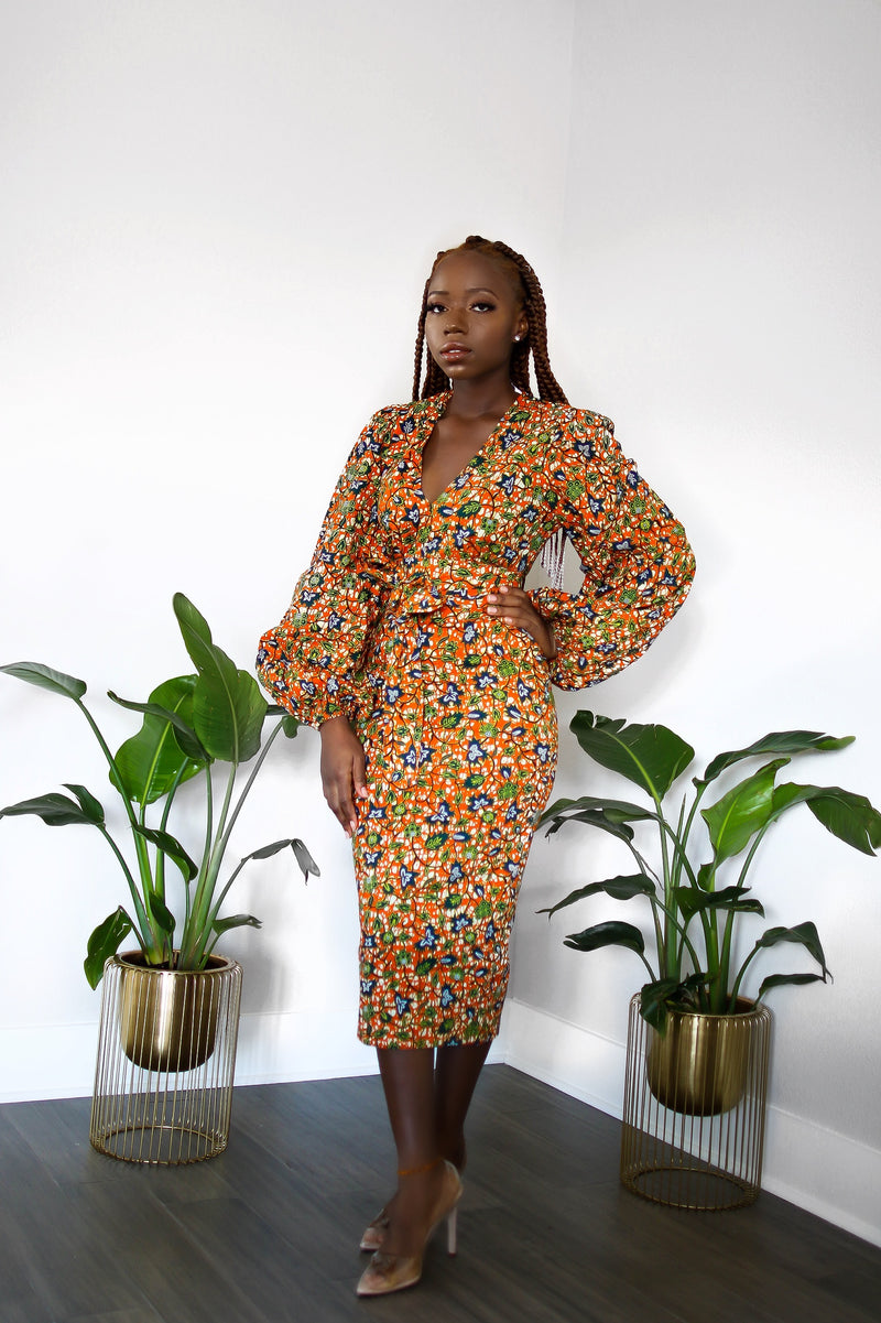 Tolu Ankara Print Bell Sleeve Midi dress with belts and pocket-Orange/Green Multi