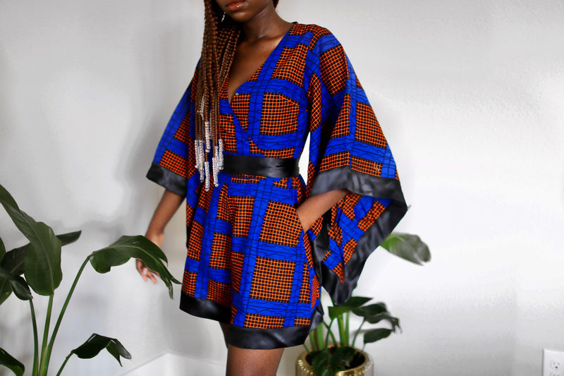 Ijeoma African Print Romper with Kimono Sleeves-Blue/ Orange multi