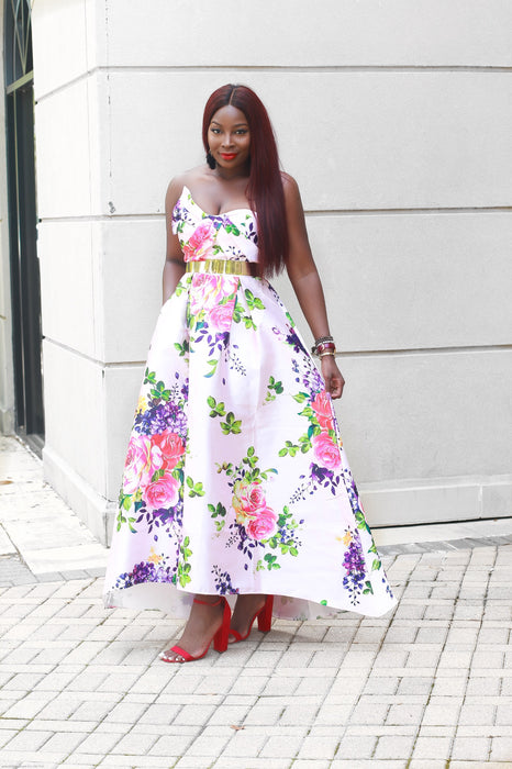 BLOSSOM Asymmetrical Floral Dress with Pockets