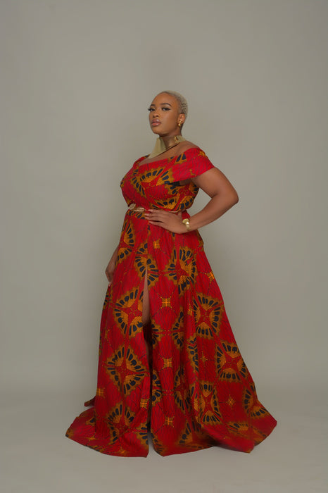 Eniola Off Shoulder Ankara Print Maxi Dress - Red/Orange
