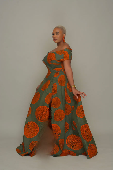 Eniola Off Shoulder Ankara Print Maxi Dress -Olive/Orange | Dresses | Flair By Ashi